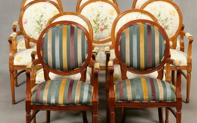 FRENCH INFLUENCED DINING CHAIRS, SET OF 10