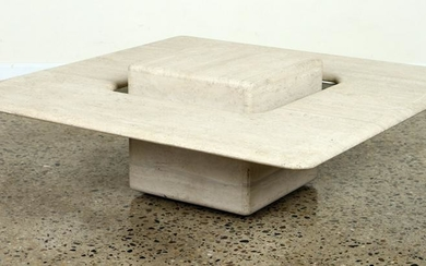 FRENCH TRAVERTINE COFFEE TABLE BY ARTELANO C.1975