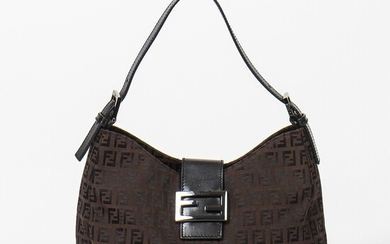 Fendi: A bag made of brown Zucca print canvas with black leather trimmings, adjustable short handle and silver toned hardware.