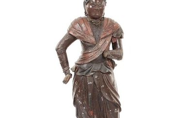 Figure - Lacquered wood - A Large and Rare Polychrome Wood Figure Taishakuten, H- 66 cm - Japan - Muromachi period (1333-1573)