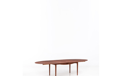 Finn Juhl (1912-1989) Judas Table with extensions Teak and silver inclusions Niels Vodder Edition Editor's stamp hot-branded beneat...