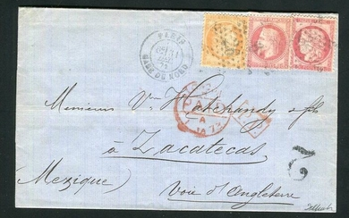 France 1873 - Rare letter from Paris bound for Zacatecas (Mexico) with the No. 32, 38 and 57 stamps