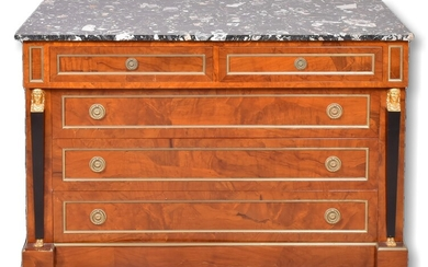 French Empire Style Marble Top Bureau