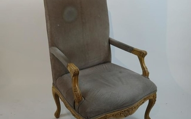 French-Style Shell Relief Open Arm Chair
