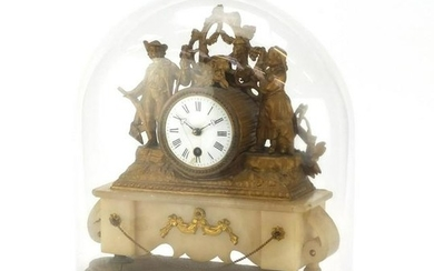 French alabaster and gilt metal mounted mantel clock