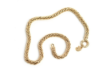 GOLD BYZANTINE LINK NECKLACE WITH CHARM, 44.3g
