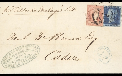 "Gibraltar Spanish and G.B. Stamps used in Combination 1858 (19 Oct.) entire to Cadiz, marked ""p..."
