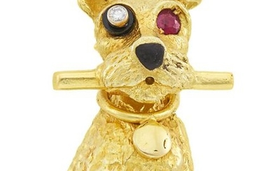 Gold, Diamond and Ruby Dog Clip-Brooch, Cartier, Paris