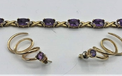 Gold Wash .925 Sterling with Amethyst Bracelet Earrings