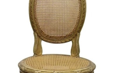 Good Louis XVI French carved gilt wood and caned side chair