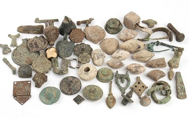 Group of Several Roman Bronze and Lead Items, from 3rd...