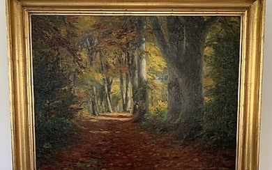 H. A. Brendekilde: Forest clearing with an empty bench. Signed H. A. Brendekilde 1911. Oil on canvas. 67×50. Frame size 80×63 cm.