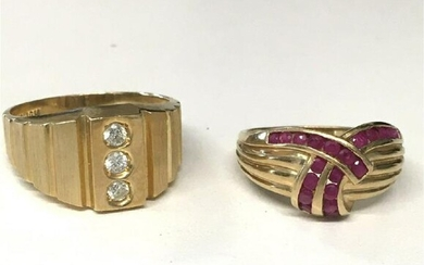 HIS & HERS 14KT YELLOW GOLD RINGS, 1 W/ DIAMONDS