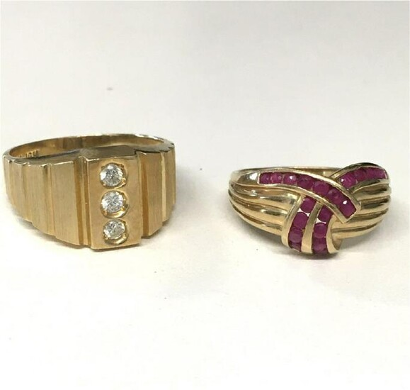 HIS & HER'S 14KT YELLOW GOLD RINGS, 1 W/ DIAMONDS