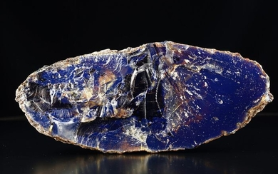 HUGE decor BLUE AMBER full natural slice great quality and color play - unique specimen in this size - 230×103×60 mm - 535 g