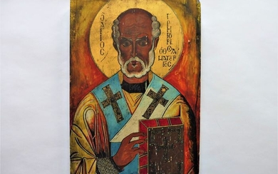 Handvervaardigd - Beautiful Icon St. Nicholas on wooden panel painted with lacquer seal. (1) - Old wood