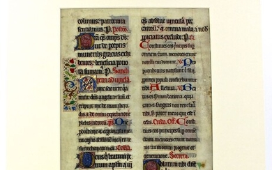 Highly decorative manuscript Missal leaf, c.1425. Large & finely illuminated leaf in the style of a Book of Hours.