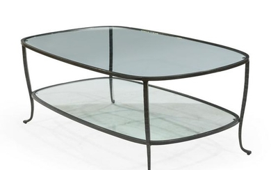 Iron and Glass Two Tier Coffee Table