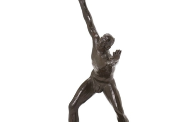 Jean René Gauguin: Athlete. Signed with monogram. Stamped 'Nic. O. Schmidt, Bronzestøberi'. Patinated bronze. H. 31 cm.