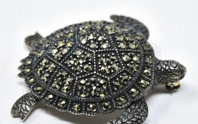 Judith Jack Sterling Silver & Marcasite Turtle Pin