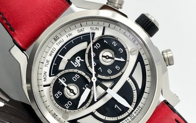 L&JR - Chronograph Day and Date Multi-layer Black and White Dial with Red Strap Swiss Made - S1503-S12 - Men - Brand New