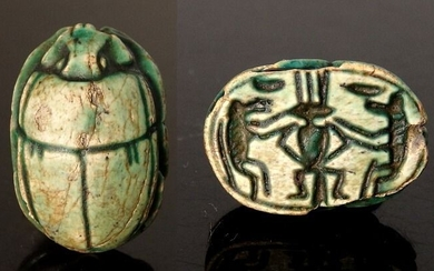 Large Egyptian Green/Blue Glazed Steatite Scarab With Baboons Adoring Bes - 23mm length