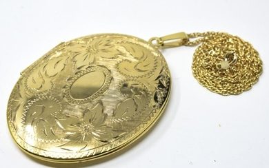 Large Gold Filled Locket & Chain