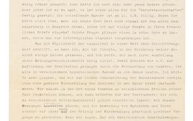 Letter to Einstein from Moritz Schlick about physics