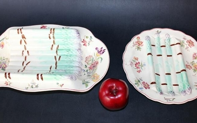 Lot of 2 French Majolica asparagus plates