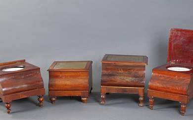 Lot of two Victorian toilets, mid-19th century. In mahogany wood, with interior containers in earthenware with a decorated lid and removable trays in leather with gilding. Height: 40 cm. Exit: 100uros. (16.639 Ptas.)