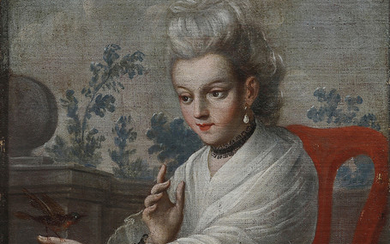 MEXICAN SCHOOL, MID 18TH CENTURY. Attributed to. A girl with a robin.