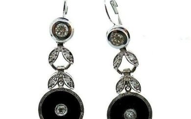 MODERN 14k White Gold, Platinum, Onyx & Diamond Drop