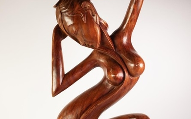 MODERN SOUTH EAST ASIAN CARVED wooden naked female figure on...