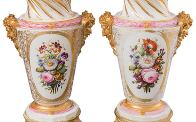 Maker unknown, A Pair of Large Paris Porcelain Urns Mounted as Lamps (19th century with later elements)