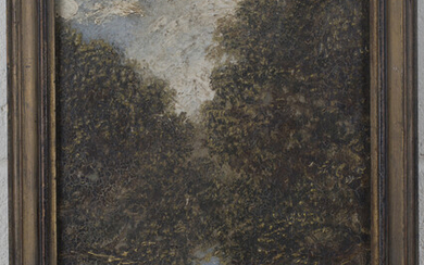 Manner of John Constable - View through an Avenue of Trees, 19th century oil on board, bears remnant