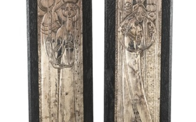 """Margaret Macdonald (MacDonald), a pair of reliefs: """"Day"""" and """"Night"""", 1899."""