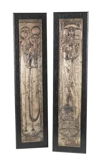"Margaret Macdonald (MacDonald), a pair of reliefs: ""Day"" and ""Night"", 1899."