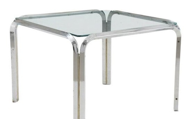 Mid-Century Modern Square Chrome and Glass Side Table