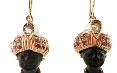 Moretto Earrings Ebony, Diamonds, Rubies, Pearls, Gold