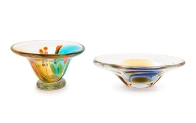 Murano Italy, 20th Century Two Glass Bowls