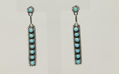 Native American Zuni Sterling Petit Point Turquoise