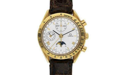 OMEGA | REF BA 175 0034, JAPAN LIMITED EDITION SPEEDMASTER, A YELLOW GOLD AUTOMATIC TRIPLE CALENDAR CHRONOGRAPH WRISTWATCH WITH MOON PHASES AND 24 HOUR INDICATION CIRCA 1995