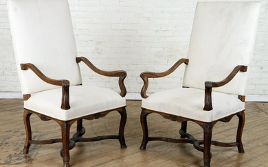 PAIR CARVED WALNUT OPEN ARM LIBRARY CHAIRS C.1940