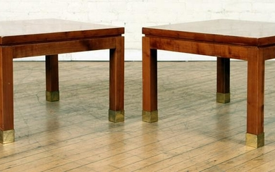 PAIR FRENCH CAMPAIGN STYLE PINE END TABLES C.1970