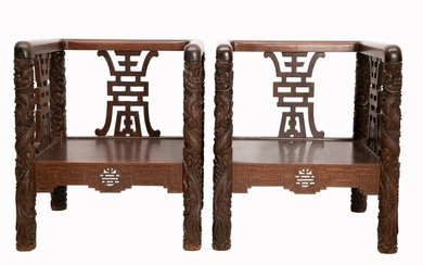 PAIR OF CUBIC ARMCHAIRS IN NATIVE WOOD