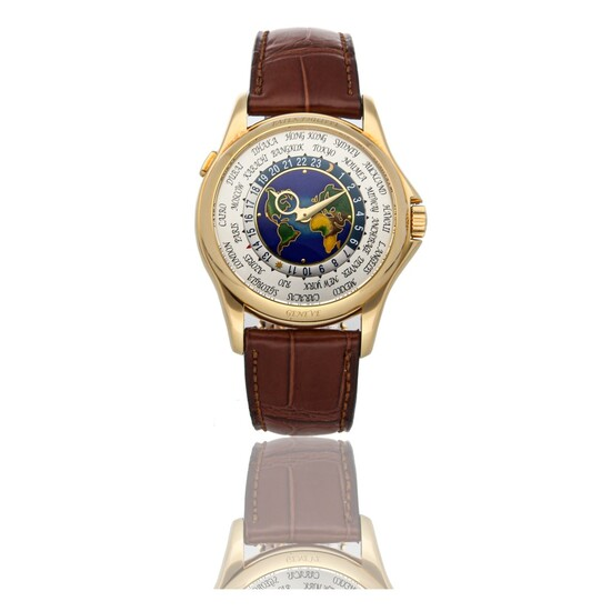 PATEK PHILIPPE   REF 5131J, A YELLOW GOLD AUTOMATIC WORLD TIME WRISTWATCH WITH CLOISONNE DIAL CIRCA 2011