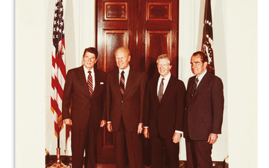 (PRESIDENTS.) Color group Photograph dated and Signed, by Reagan (as President), Ford, Carter, and Nixon