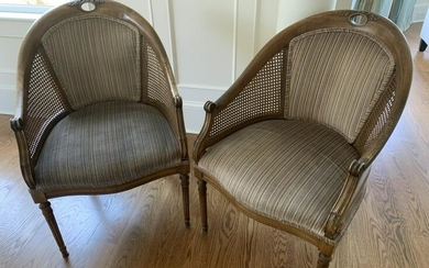 Pair French Napoleonic Style Barrel Back Chairs