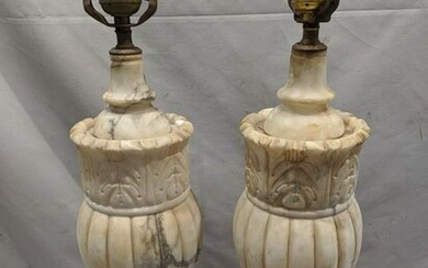 Pair Italian Carved Alabaster Ornate Table Lamps