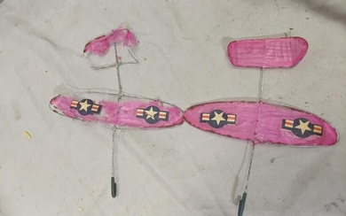Pair Made in Japan 1930's Wire & Cloth Toy Airplanes